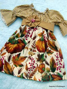 Girls Thanksgiving Peasant Dress so cute Holiday Fashion, Holiday Outfits, Fall Outfits, Kids Outfits, Little Girl Dresses, Girls Dresses, Baby Dresses, Dress Girl, Baby Kids Clothes