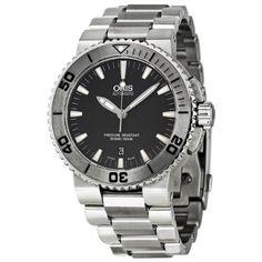 Best men's watch#42% Discount#Oris Aquis Date Black Dial Stainless Steel Mens Watch 733-7653-4153MB