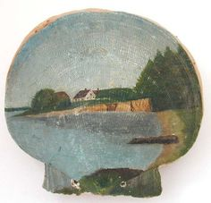 Antique Scallop Shell Pin Cushion Painted Sea Cottage Scene