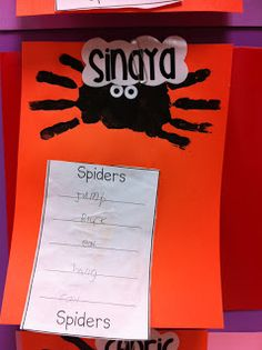 We made hand print spiders and wrote spider list poems using spider verbs and adjectives.