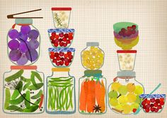 Bottled Pickles and Fruits - Art Print Limited Edition Print. $21,00, via Etsy.