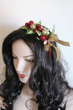 Handmade Fascinator Sequined Green Flower Sparkle Headband Hairband