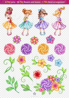 Fairy Clipart, Leaf Clipart, Painted Rocks, Hand Painted, Watercolor Paper Texture, Clipart Design, Collage Sheet, Flower Girls, Design Elements