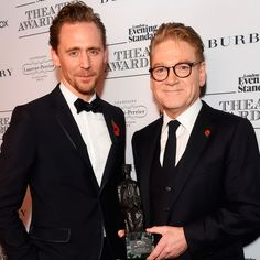Tom Hiddleston and Sir Kenneth Branagh, winner of the Lebedev Award, pose in front of the winners boards at The 62nd London Evening Standard Theatre Awards at The Old Vic Theatre on November 13, 2016 in London, England. Ful size image: http://ww2.sinaimg.cn/large/6e14d388gw1f9ra2idrtfj21kw12naht.jpg Source: Torrilla
