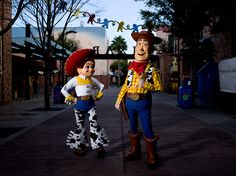 Fun Times with Woody and Jessie at Toy Story Mania.   Photographer: Noah Kalina