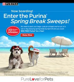 Purina® Spring Break Sweeps 2014 runs April 15-29. You could win FREE Purina® for a Year! Enter and get inspiration today! Go to http://sweeps.piqora.com/PurinaSpringBreak. #PurinaSweeps