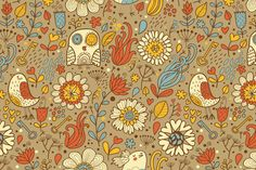 Julia Grigorieva | pattern with owls and other birds