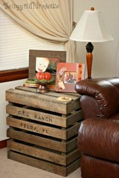 """The Cozy Old """"Farmhouse"""": Farmhouse Fall Decor (Part The Effective Pictures We Offer You About boho crates decor A quality picture can tell you many things. You can find the most beautiful pictures Country Decor, Rustic Decor, Antique Decor, Pallet Crates, Pallet Wood, Pallet Art, Pallet Ideas, Wood Pallets, Crate End Tables"""