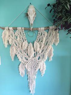 Wild Salt Spirit: large macrame wall hanging / large dreamcatcher / macrame feathers / large boho wall hanging / boho feathers