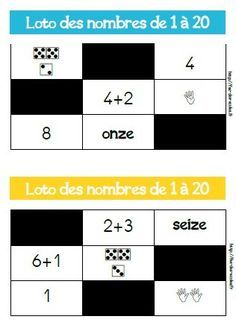 Voici une version d'un grand classique, le loto des nombres de 1 à 20. Le matériel est prévu pour 6 joueurs. Objectif : Connaître les différentes représentations des nombres de 1 à 20 Déroulement : Le meneur de jeu, pioche une carte et nomme le nombre....