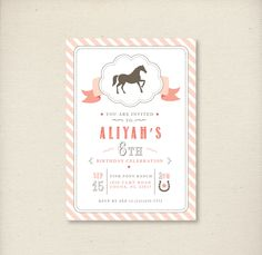 Pony Birthday Party Invitation - Pony in Pink - PRINTABLE FILE - by Luvalexa. $15.00, via Etsy.