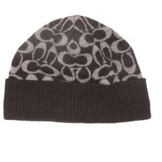 New Item Coach Hat Knit Signature Logo Winter Hat Cap.                      Coach Signature Print 20% Wool 35% Viscose 29% Nylon 8% Rabit Hair 8% Cashmere Dry Clean Recommended One Size Fits Most.                                                       Coach Factory Coach Accessories Hats