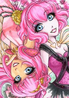pandoras-locker: Long time no see… I was pretty busy with stuff, but now I can show some new artworks :)This one is for a trading event on Facebook, and I choose Cupid in her both versions. :DIt's so much pink, but I really like it *w*