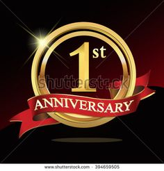1st golden anniversary logo. with ring and ribbon.