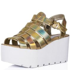 Wedge Heel Buckle Cut Out Flatform Platform Sandal Shoes Gold Synthetic Leather