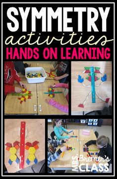 We started our fractions unit by learning about symmetry and lines of symmetry. Here's an activity that helped students learn it in a very hands-on, visual way! Symmetry Math, Symmetry Activities, 2nd Grade Activities, Hands On Activities, Kindergarten Math Activities, Math Games, Learning Activities, Student Learning, Teaching Math