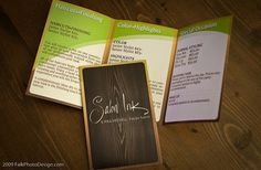 brochure with a wooden background