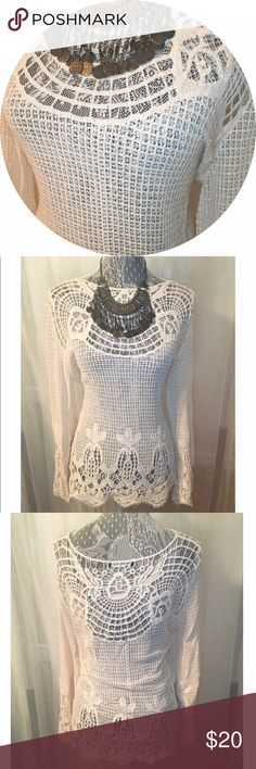 Crocheted Top Look boho chic in this Crocheted top.  Super cute and can be paired with shorts.never been worn. Tops