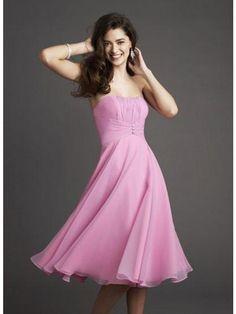 Pretty Pink Dresses | Chiffon Strapless Pink Knee Length Bridesmaid Dresses | PRLog