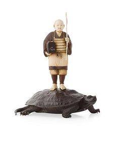 FINE JAPANESE BRONZE AND IVORY FIGURE GROUP MEIJI PERIOD depicting a carved and stained ivory figure of a fisherman with a red lacquer signature, standing on the back of a bronze tortoise with an impressed three character signature to the underside 15cm high  Notes: Provenance: The Symington Grieve Collection of Japanese Works of Art