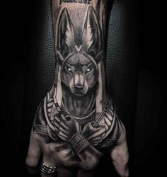 What does anubis tattoo mean? We have anubis tattoo ideas, designs, symbolism and we explain the meaning behind the tattoo. Dope Tattoos, Leg Tattoos, Body Art Tattoos, Small Tattoos, Script Tattoos, Arabic Tattoos, Dragon Tattoos, Awesome Tattoos, Flower Tattoos