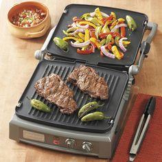 The Cuisinart GR-150 Griddler Deluxe grills, griddles and presses.