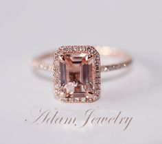 Emerald Cut 14K Rose Gold 6x8mm VS Halo Morganite Ring SI/H Diamonds Wedding Ring /Engagement Ring/ Promise Ring/ Anniversary Ring by AdamJewelry on Etsy