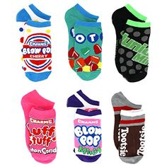 Topps Tootsie Roll Teen Adult 6 pack Socks Charms Candy Blow Pop Cotton Candy Dots Junior Mints Sucker Lollipop #YankeeToyBox #Charms #Socks tween teenager womens ladies