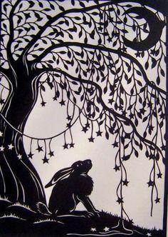 A hare under a tree, lino print Art And Illustration, Illustrations, Paper Cutting, Year Of The Rabbit, Rabbit Art, Bunny Art, Hare, Printmaking, Folk Art