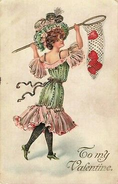 Valentines Day Postcard of Woman Capturing Hearts in a Net Valentine Images, Vintage Valentine Cards, Vintage Holiday, Valentine Crafts, Valentine Day Cards, Vintage Cards, Vintage Postcards, Vintage Images, Valentines Greetings