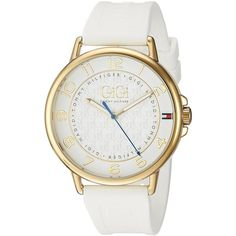 Tommy Hilfiger Women's 'Gigi Hadid' Quartz Gold-Tone and Rubber Casual... ($110) ❤ liked on Polyvore featuring jewelry, watches, rubber jewelry, rubber wrist watch, gold tone jewelry, tommy hilfiger and gold-tone watches