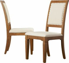Linen Dining Chair with Wood Frame and Felt Foot Pads - Dining Chair with Nailhead Trim and Solid Back - Set of 2 - Taupe