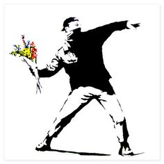 BANKSY  Anarchist throwing flowers, canvas wall art