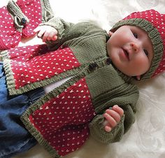 Cute little jacket, boots and beret with a simple fair isle, and twisted rib pattern, I call this my strawberry outfit. Would make a very cute christmas present. This pattern would be suitable for the Intermediate Knitter.