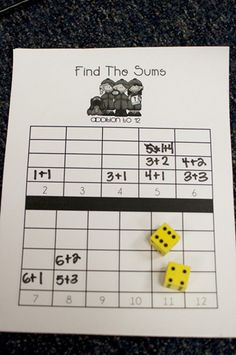 Dice Addition--Great way to reinforce addition.  Students could play if they finished early. Would need to recreate. Not a link or freebie.
