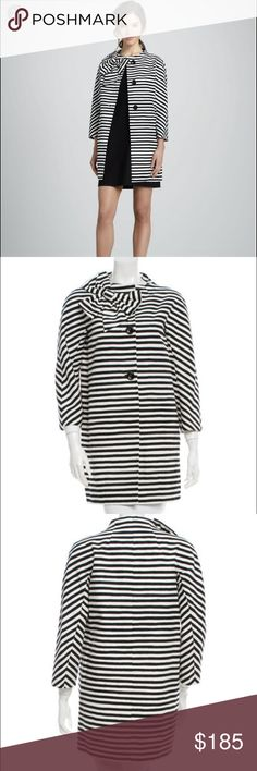 "KATE SPADE NEW YORK BOW-ACCENTED STRIPED COAT smal KATE SPADE NEW YORK BOW-ACCENTED STRIPED COAT SMALL NWT Black and white Kate Spade New York striped coat with bow accent near shoulder, dual inseam pockets and button closures at center front. Measurements: Bust 36"", Waist 40"", Shoulder 17"", Length 32.5"", Sleeve 26"" Fabric Content: 73% Cotton, 27% Silk; Lining 100% Polyester Designer: Kate Spade New York Item # WKA37469 kate spade Jackets & Coats Trench Coats"