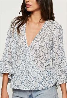 Love Stitch Clothing Flare Sleeve Printed Surplice Top for Women in Indigo and Natural I-11871W-PPC-IND