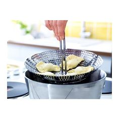 IKEA STABIL — Steamer insert, stainless steel ($5.99). Detachable handle; a cool handle makes it easy to move the insert.