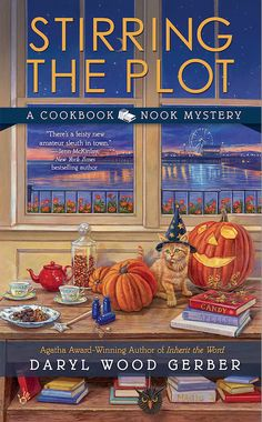 Book cover for Stirring the Plot, the 3rd Cookbook Nook mystery, coming October, 2014. From @Darylwoodgerber