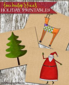 Burlap Holiday Printables - grab yours at Kleinworth & Co