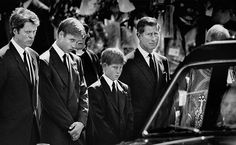 Diana's funeral took place on September 6, 1997 at Westminster Abbey. Her sons, 15-year-old William and 12-year-old Harry, walked in the funeral procession behind her coffin, along with Prince Charles, The Duke of Edinburgh, and Diana's brother, Lord Spencer.