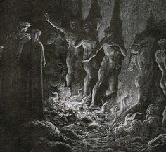 Purgatorio, Canto 25 Lustful Pass Through Fire Seventh Circle Vintage Engraving by Gustave Dore'