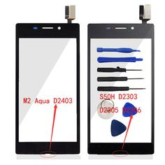 Front Touch Screen Panel Digitizer (No LCD) Glass For Sony Xperia M2 S50H / M2 Aqua D2403 Sensor Flex Cable Lens Repair + Logo