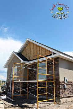 Rock work and wood siding