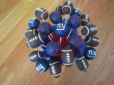 NY Giants cake pops