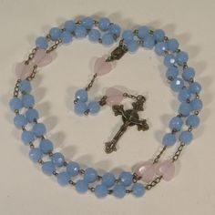 Rosary Prayer Necklace 10mm Blue Glass 14mm Glass Pink Hearts Bead Bronze