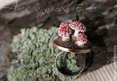 """Купить Кольцо """"Мухоморчики"""" миниатюра из полимерной глины - кольцо, мухоморы, необычный подарок, грибы, грибочки"""
