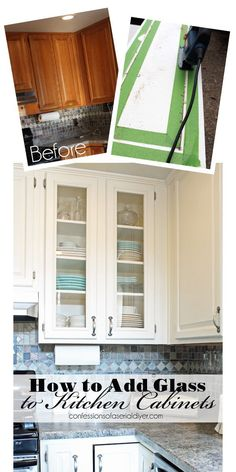 Post cabinet doors: How to add overlays to a glass kitchen cabinet - The Pink Dream 34 DIY kitchen cabinet ideasDIY Kitchen Cabinets - Add Glass to Cabinet Doors - Makeover Ideas for Kitchen Cabinets Diy Kitchen Cabinets, Kitchen Cabinet Design, Painting Kitchen Cabinets, Kitchen Paint, New Kitchen, Kitchen Ideas, Kitchen Decor, Kitchen Remodeling, Kitchen Furniture