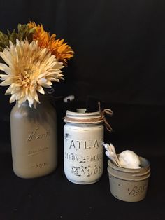Set of Mason Jars, Bathroom Set, Painted and Distressed Jars, Upcycled and Repurposed Home Decor, Organization by DesignCreateInspire on Etsy
