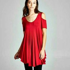 🆕COLD SHOULDER TUNIC🎉HOST PICK🎉 New red cold shoulder tunic 95% Rayon/5% Spandex 🎉WEDDING SEASON STYLE HP🎉 Available in small or medium Mad in USA PRICE IS FINAL 4 Bidden Boutique Tops Tunics